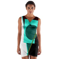 Geometric Abstract Design Wrap Front Bodycon Dress by Valentinaart