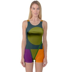 Geometric Abstraction One Piece Boyleg Swimsuit by Valentinaart