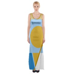 Blue And Yellow Abstract Design Maxi Thigh Split Dress by Valentinaart