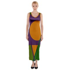Green And Orange Geometric Design Fitted Maxi Dress by Valentinaart