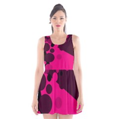Pink Dots Scoop Neck Skater Dress by Valentinaart
