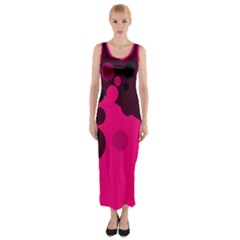 Pink Dots Fitted Maxi Dress by Valentinaart