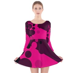 Pink Dots Long Sleeve Velvet Skater Dress by Valentinaart