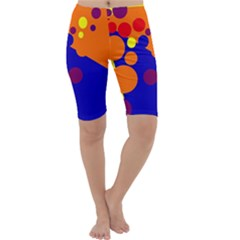 Blue And Orange Dots Cropped Leggings  by Valentinaart