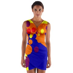 Blue And Orange Dots Wrap Front Bodycon Dress by Valentinaart