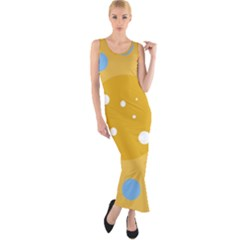 Blue And Yellow Moon Fitted Maxi Dress by Valentinaart
