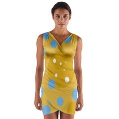 Blue And Yellow Moon Wrap Front Bodycon Dress by Valentinaart