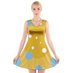Blue And Yellow Moon V-neck Sleeveless Skater Dress by Valentinaart