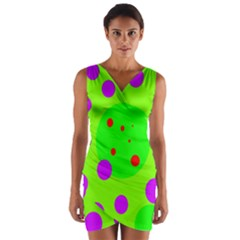 Green And Purple Dots Wrap Front Bodycon Dress by Valentinaart