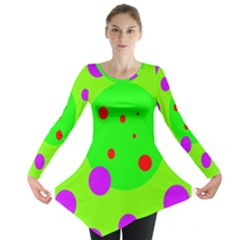 Green And Purple Dots Long Sleeve Tunic  by Valentinaart