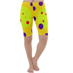 Yellow And Purple Dots Cropped Leggings  by Valentinaart
