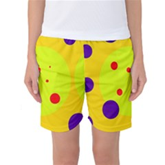 Yellow And Purple Dots Women s Basketball Shorts by Valentinaart