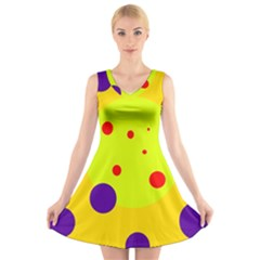 Yellow And Purple Dots V Neck Sleeveless Skater Dress by Valentinaart