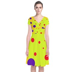 Yellow And Purple Dots Short Sleeve Front Wrap Dress by Valentinaart