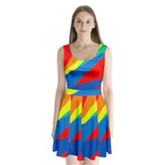Colorful Abstract Design Split Back Mini Dress  by Valentinaart