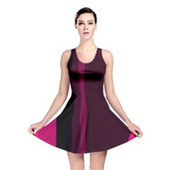 Pink And Black Lines Reversible Skater Dress by Valentinaart