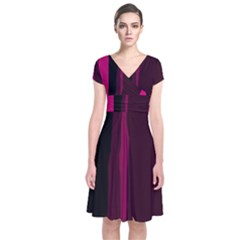 Pink And Black Lines Short Sleeve Front Wrap Dress by Valentinaart