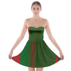 Green And Red Lines Strapless Dresses by Valentinaart