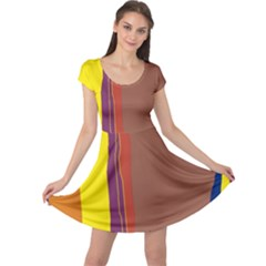 Colorful Lines Cap Sleeve Dresses by Valentinaart
