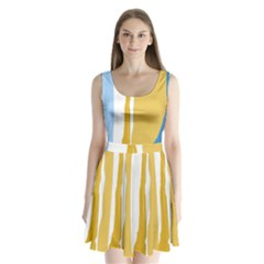 Blue And Yellow Lines Split Back Mini Dress  by Valentinaart