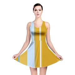 Yellow Elegant Lines Reversible Skater Dress by Valentinaart