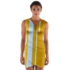 Yellow Elegant Lines Wrap Front Bodycon Dress by Valentinaart