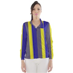 Blue And Yellow Lines Wind Breaker (women) by Valentinaart