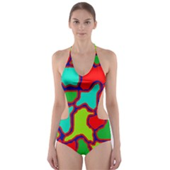 Colorful Abstract Design Cut-out One Piece Swimsuit by Valentinaart