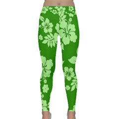 Green Hawaiian Yoga Leggings  by AlohaStore