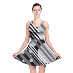 Gray Lines And Circles Reversible Skater Dress by Valentinaart