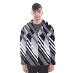 Gray Lines And Circles Hooded Wind Breaker (men) by Valentinaart