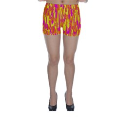 Pink And Yellow Pattern Skinny Shorts by Valentinaart