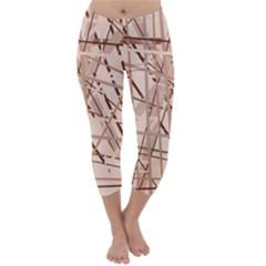 Brown Pattern Capri Winter Leggings  by Valentinaart