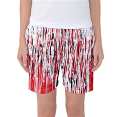 Red, Black And White Pattern Women s Basketball Shorts by Valentinaart