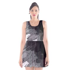 Black And Gray Pattern Scoop Neck Skater Dress by Valentinaart