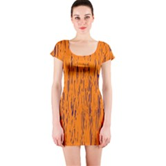 Orange Pattern Short Sleeve Bodycon Dress by Valentinaart