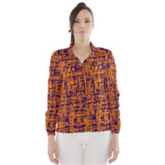 Blue And Orange Decorative Pattern Wind Breaker (women)