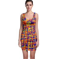 Orange, Blue And Yellow Pattern Sleeveless Bodycon Dress by Valentinaart