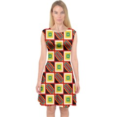 Squares And Rectangles Pattern                        Capsleeve Midi Dress by LalyLauraFLM