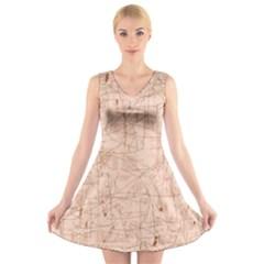 Elegant Patterns V Neck Sleeveless Skater Dress by Valentinaart