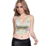 Hippie Flowers Pattern, Pink Blue Green, Zz0101 Racer Back Crop Top