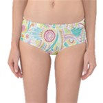 Hippie Flowers Pattern, Pink Blue Green, Zz0101 Mid-Waist Bikini Bottoms