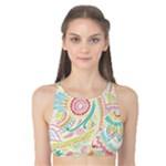 Hippie Flowers Pattern, Pink Blue Green, Zz0101 Tank Bikini Top
