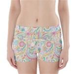 Hippie Flowers Pattern, Pink Blue Green, Zz0101 Boyleg Bikini Wrap Bottoms