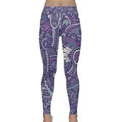 Purple Hippie Flowers Pattern, Zz0102, Yoga Leggings  by Zandiepants