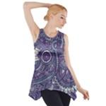 Purple Hippie Flowers Pattern, zz0102, Side Drop Tank Tunic