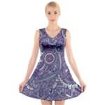 Purple Hippie Flowers Pattern, zz0102, V-Neck Sleeveless Skater Dress