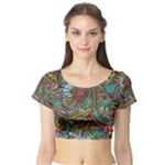 Colorful Hippie Flowers Pattern, zz0103 Short Sleeve Crop Top (Tight Fit)