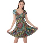 Colorful Hippie Flowers Pattern, zz0103 Cap Sleeve Dresses