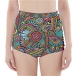 Colorful Hippie Flowers Pattern, zz0103 High-Waisted Bikini Bottoms